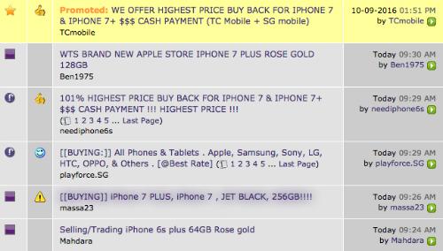 Những lời chào mời thu gom iPhone 7 và iPhone 7 Plus trên một trang rao vặt ởSingapore.