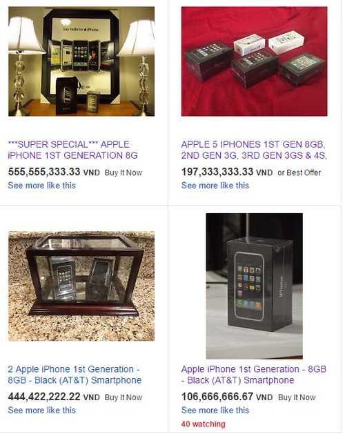 Những chiếc iPhone đời cũcó giá hàng trăm triệu trên eBay.
