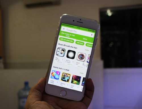 Khi truy cập vàoApp Store, iPhone 7 nhái hiển thị Play Store.