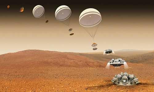Mô phỏng quá trình đổ bộ của robot Schiaparelli. Ảnh: ESA.
