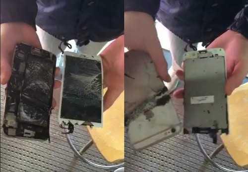 Chiếc iPhone 6 Plus bị hư hại hoàn toàn.