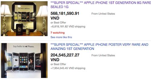 Một chiếc iPhone đời đầu tại Mỹ được rao giá hơn 500 triệu đồngvà người dùng Việt Nam cũng có thể đặt mua qua eBay.