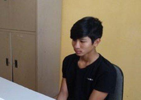 Đối tượng Lê Văn Thọ tại cơ quan cảnh sát điều tra.