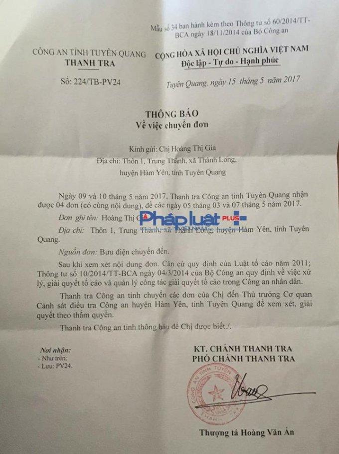 Đơn thư của cháu Hoàng Thị G. liên tục được gửi tới các cơ quan chức năng tỉnh Tuyên Quang.