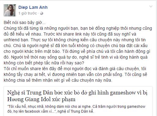 Hinh anh Trang Tran thang thung goi Huong Giang la anh, khuyen nen dung song kieu co hoi
