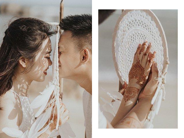 """Được biết, để có những góc ảnh ấn tượng, toàn bộ trang phục và phụ kiện được mang từ Thái Lan về, ngoài ra nhiếp ảnh gia cũng tự tay xăm henna lên da của cô dâu chú rể để """"hô biến"""" họ trở thành cặp đôi du mục thực thụ."""