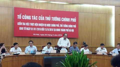 Tổ công tác làm việc với UBND TP Hà Nội sáng nay 26/9.
