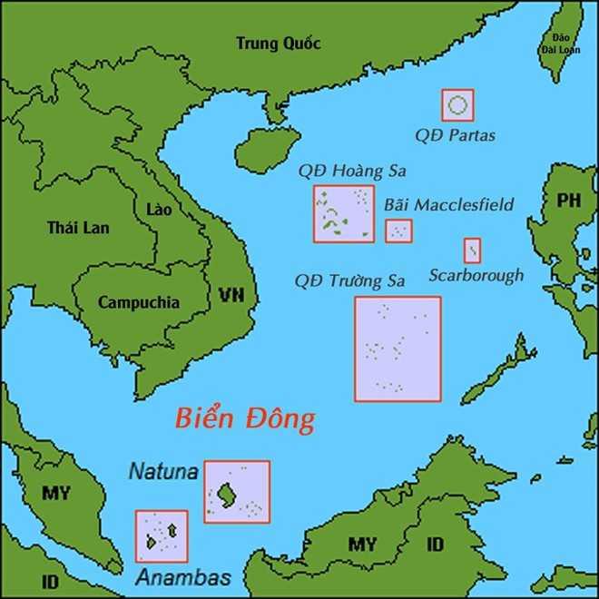 Bản đồ các thực thể địa lý trên Biển Đông