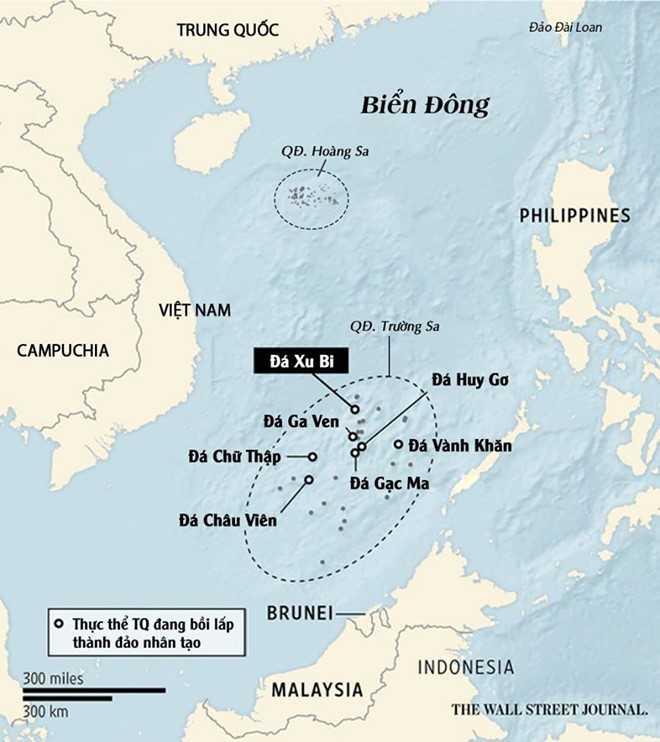 Trung Quốc bồi lấp trái phép 7 thực thể tại quần đảo Trường Sa của Việt Nam. Đồ họa: WSJ