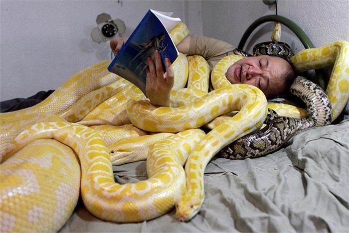 Người đàn ông ngủ với những con rắn ở Manila, Philippines