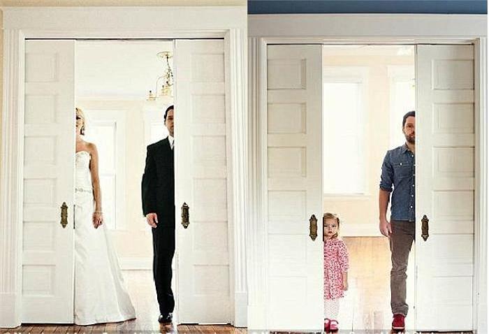 Ben và người vợ quá cố Ali trong bộ ảnh cưới năm 2009 (trái), 4 năm sau, người thay thế cho vị trí của vợ anh chính là cô con gái 3 tuổi của họ.