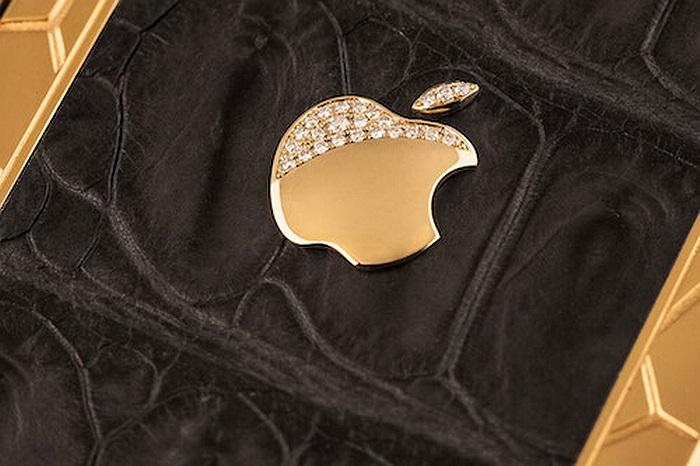 Logo quả táo được vàng nguyên khối và kim cương tổng hợp
