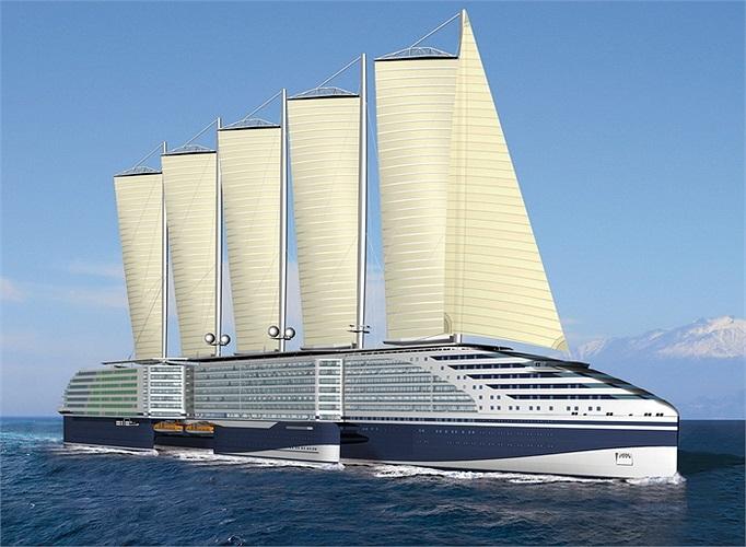 Eoseas: Trị giá 740 triệu USD. Khi hoàn thành vào năm 2016 đây sẽ là chiếc tàu có gắn buồm lớn nhất thế giới. Diện tích các cánh buồm lên đến 12.440 m2 để đủ sức kéo tàu khi có gió và chạy bằng động cơ lúc biển lặng.