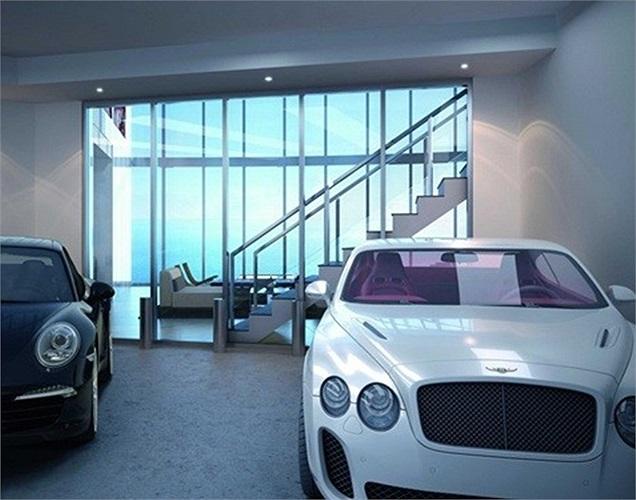 Những căn hộ giá thấp hơn có garage sức chứa 2 xe, còn những căn cao cấp hơn có thể để tới 4 xe. Ngoài ra, tại đây còn cung cấp dịch vụ xe hơi như rửa, thay săm lốp và bảo dưỡng định kỳ.