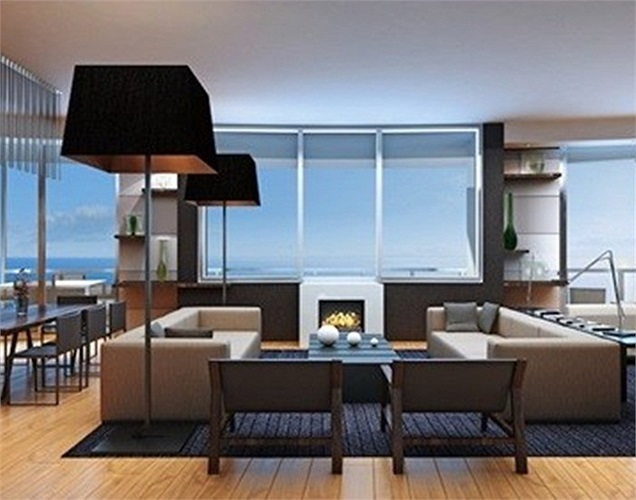 Phòng khách thiết kế mở hướng ra biển.