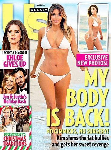 Cô Kim siêu vòng 3 tái xuất với bikini trên trang bìa tạp chí Usmagazine làm fan ngẩn ngơ với thân hình đồng hồ cát tuyệt đẹp dù mới sinh con đầu lòng.