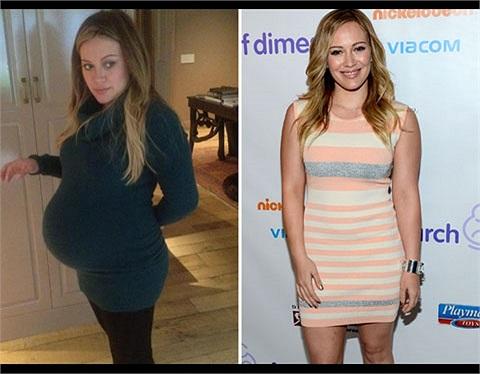 Hilary Duff không bị tăng cân quá nhiều nên 9 tháng sau sinh người đẹp đã trở về thời con gái với thân hình săn chắc.