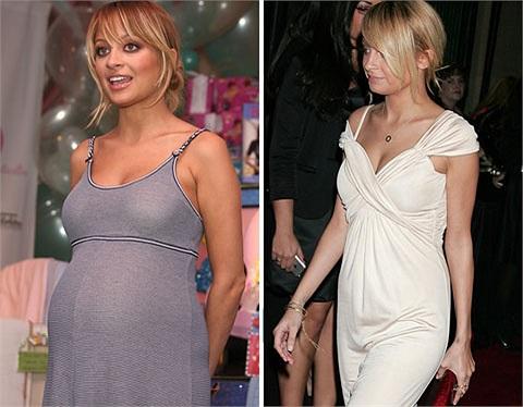 Nicole Richie bầu bí tháng 12/2007 và cực kỳ thon gọn vào tháng 2/2008.
