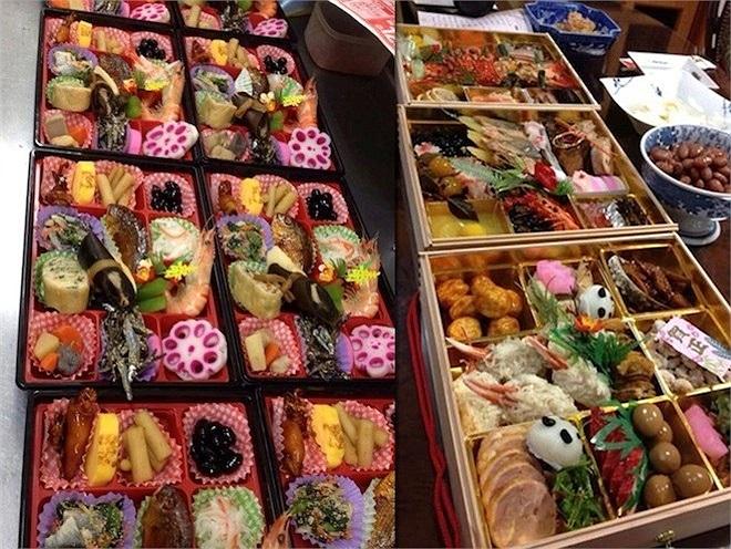 Hà Trang cho biết, vào ngày đầu năm người dân Nhật thường ăn một khay chứa nhiều loại thức ăn bên trong được gọi là osechi.