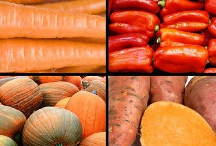 Rau củ màu đỏ cho làn da tươi sáng và mịn màng: Các loại rau củ màu đỏ và màu cam như cà chua, cà rốt và khoai lang...