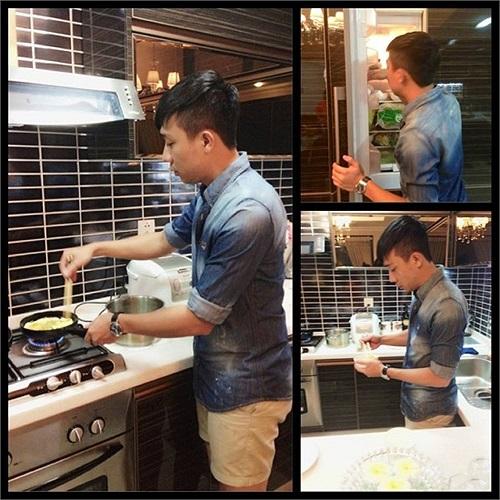 Trấn Thành tự tay vào bếp.