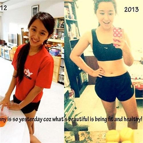 Bức ảnh chụp năm 2012 (trái) phơi bày một cơ thể gầy nhom của Laura. Còn bức ảnh chụp năm 2013 (phải) cho thấy cô nàng trông rất khỏe mạnh và đầy đặn do tập luyện.
