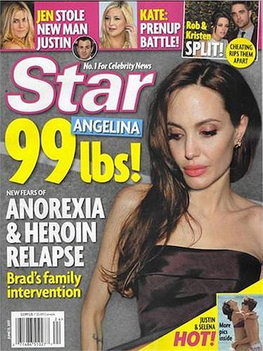 Cô lên trang bìa các tạp chí với hình ảnh thiếu sức sống, đáng báo động.