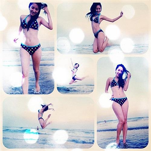 Người đẹp Khánh Thi tự tin khoe một bức ảnh khi đi tắm biển trong bộ bikini xinh đẹp. Theo Khampha.vn