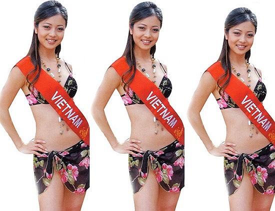 Hoa hậu Jennifer Phạm với bức hình khi còn là một nữ sinh đi thi sắc đẹp.