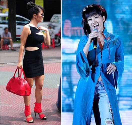 Đôi giày có quai bản lớn của Hồng Nhung khiến chân cô như bị băng bó nặng nề. Trong ảnh phải, nữ ca sỹ kết hợp áo dài và quần jeans rách, không tạo được thiện cảm với công chúng.