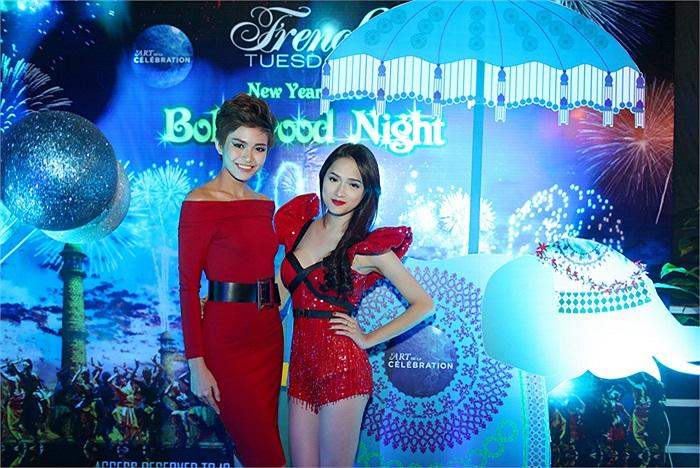 Hương Giang Idol 'đọ dáng' cùng Thanh Thủy ở buổi tiệc đón năm mới.
