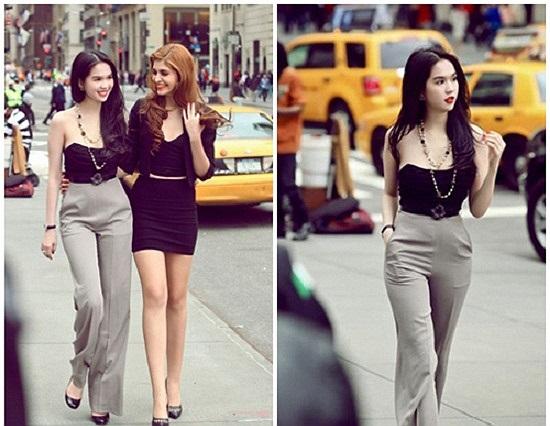 Dù tham gia event hay ra phố cùng bạn bè, Ngọc Trinh đều diện những chiếc jumpsuit khoe vòng eo con kiến.