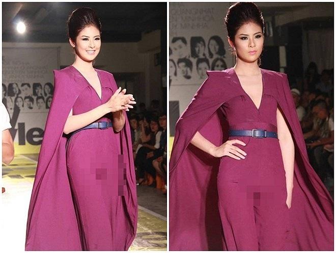 Hoa hậu Việt Nam 2010 gặp sự cố lộ vùng nhạy cảm khi  trình diễn một mẫu jumpsuit có phần quần ôm sát.