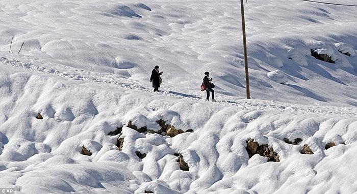 Ngoài Syria, một số quốc gia châu Phi, Trung Đông khác cũng đang chứng kiến việc tuyết rơi hiếm hoi, trong ảnh là 2 người phụ nữ ở thành phố Nablus, Palestine