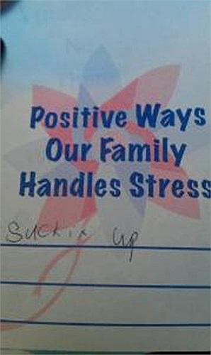 Hỏi: Những cách tích cực mà gia đình chúng ta giải quyết căng thẳng? Trả lời: Đối mặt với nó.