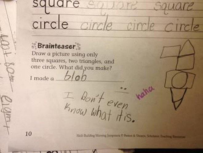 Yêu cầu: Hãy vẽ một bức tranh sử dụng 3 hình vuông, 2 hình tam giác và 1 hình tròn. Bạn đã vẽ được cái gì? Trả lời: Em cũng không biết nó là cái gì.