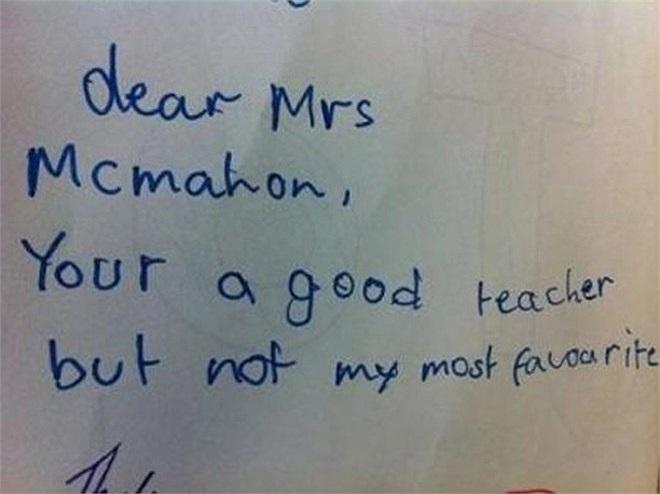 Cô Mcmahon thân mến. Cô là một cô giáo tốt nhưng không phải là giáo viên mà em thích nhất