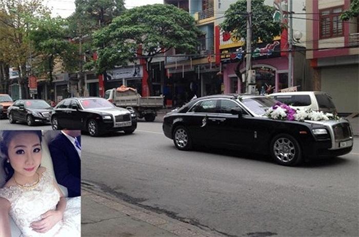 Dàn xe sang đi rước dâu trong đám cưới của người đẹp Hạ Long 2012 Nguyễn Diễm My và một doanh nhân người Hà Nội hôm 13/4/2013 dẫn đầu bằng chiếc Rolls-Royce Ghost làm xe hoa. Tiếp sau là một chiếc Ghost khác, Mercedes-Benz S Class, Land Rover Range R