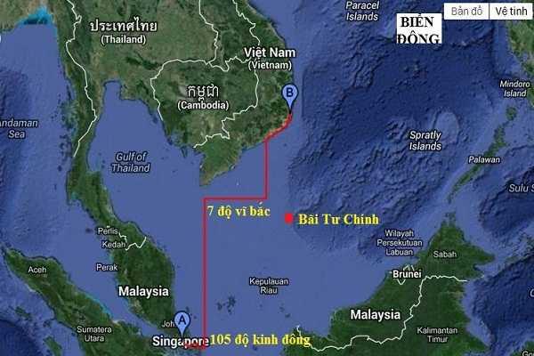 Lộ trình di chuyển của Rolldock Sea từ cảng Singapore đến cảng Cam Ranh