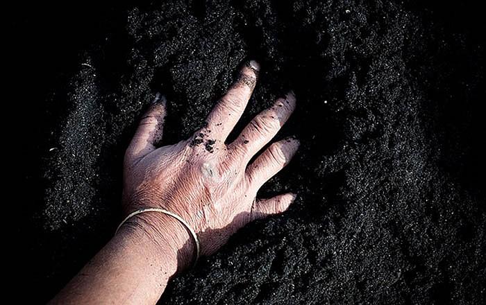 Công nhân thường dùng tay trần để bốc cát đen - nguyên liệu làm gạch