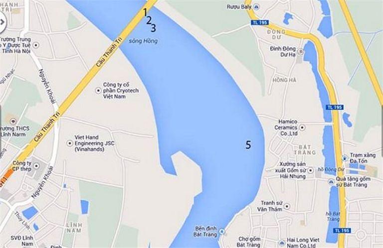 Vị giáo sư này cũng chỉ ra tất cả có 34 điểm có tín hiệu thi thể trên sông Hồng trong đoạn dài khoảng 20km xuôi dòng từ chân cầu Thanh Trì. Sau khi tính toán, sàng lọc các kết quả này, ông Bằng chỉ ra cụ thể 11 điểm cần tiến hành khai quật. (Bản đồ đánh dấu các điểm nghi vấn trên sông Hồng).