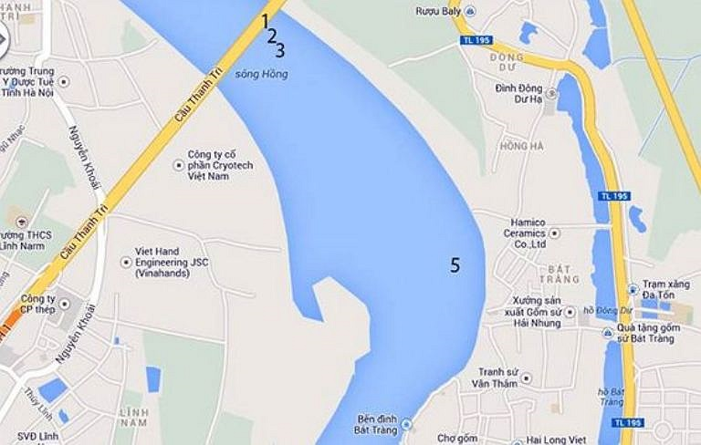 Trong đó, đoạn từ cầu Thanh trì đến Bát Tràng dài 1,6km có 4/7 vị trí cần khai quật. (Số 1, 2, 3, 5)