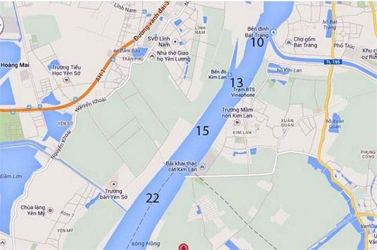 Đoạn từ Bát Tràng đến bãi bồi xã Văn Đức, Gia Lâm dài 7,2km có 4/15 vị trí cần khai quật (Số 10, 13, 15, 22).