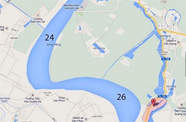 Đoạn từ cuối bãi bồi Văn Đức, Gia Lâm đến Phi Liệt (Văn Giang, Hưng Yên) dài 4,5km, có 2/3 vị trí cần tìm (Số 24, 26).