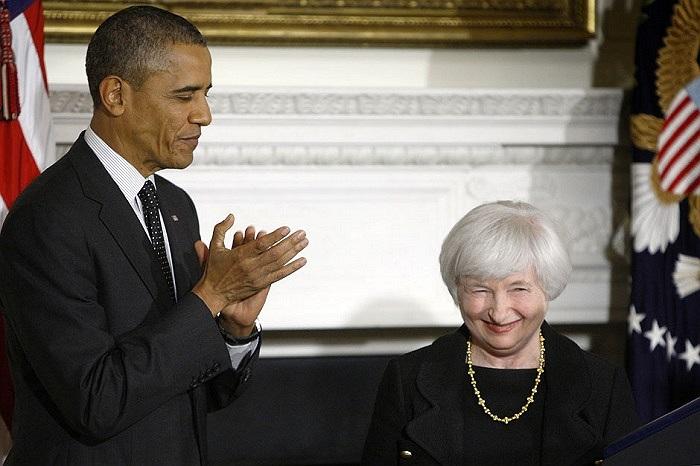 Tổng thống Obama vỗ tay chúc mừng tân Chủ tịch cục dự trữ liên bang Mỹ Janet Yellen