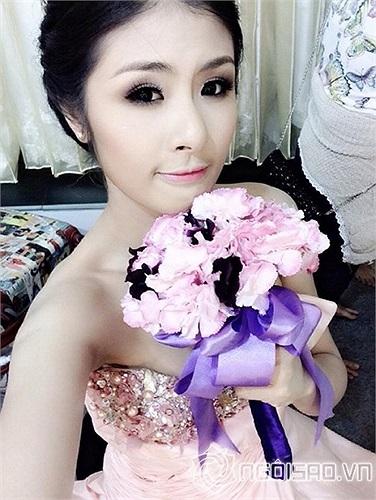 Hoa hậu Ngọc Hân hóa cô dâu xinh đẹp.