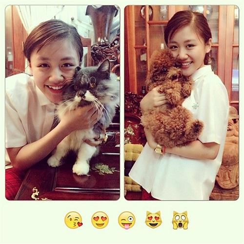 Văn Mai Hương nhí nhảnh bên thú cưng.