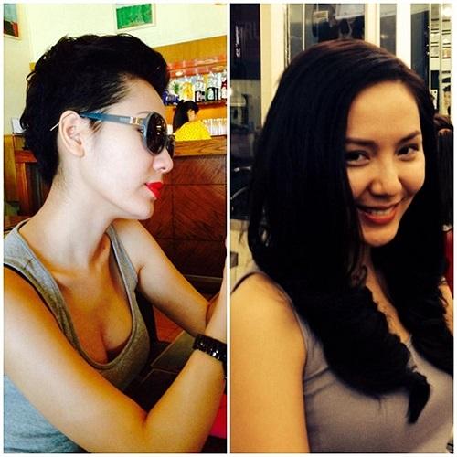 Phương Linh và 2 kiểu tóc trái ngược, nhưng kiểu tóc nào cũng mang lại cho Phương Linh vẻ xinh đẹp, trẻ trung.