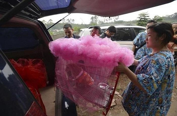Chiếc lồng của 'cô dâu' Lanlan được trang trí vô cùng dễ thương với tông màu hồng.