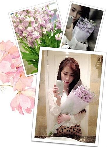 Quỳnh Nga tự mua hoa tặng mình trong ngày 20/10.
